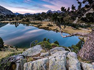 Hintergrundbilder Frankreich See Stein Ast Aragnouet Pyrenees Natur