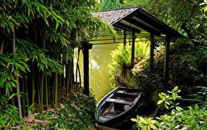 Hintergrundbilder Frankreich Schiffsanleger Boot Flusse Bambus