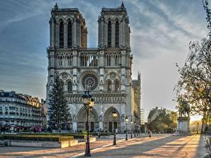 Bilder Frankreich Morgen Kathedrale Paris Straßenlaterne Straße Notre Dame Städte