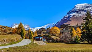 Hintergrundbilder Frankreich Gebirge Gebäude Herbst Alpen Maurienne