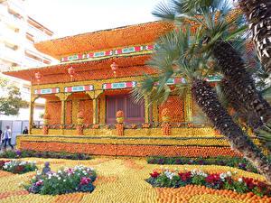 Hintergrundbilder Frankreich Park Gebäude Apfelsine Design Palmen Lemon Festival Menton Natur