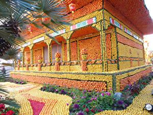Hintergrundbilder Frankreich Park Haus Orange Frucht Zitrone Design Lemon Festival Menton Natur
