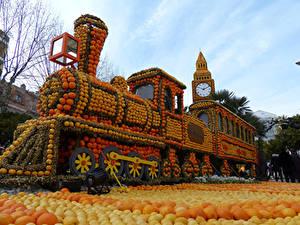 Fotos Frankreich Park Züge Apfelsine Design Lemon Festival Menton Städte