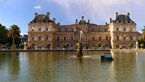 Pictures France Pond Sculptures Fountains Paris Palace Luxembourg Palace Cities