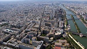 Bilder Frankreich Flusse Gebäude Brücke Paris Von oben Montparnasse Städte