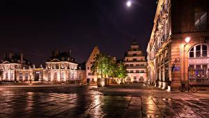 Bilder Frankreich Straßburg Gebäude Stadtstraße Nacht Straßenlaterne