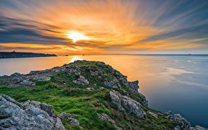 Hintergrundbilder Frankreich Sonnenaufgänge und Sonnenuntergänge Küste Meer Himmel Brittany