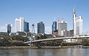 Hintergrundbilder Frankfurt am Main Wolkenkratzer Flusse Brücke Main river Städte