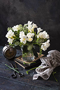 Images Freesia Clock Vase White flower