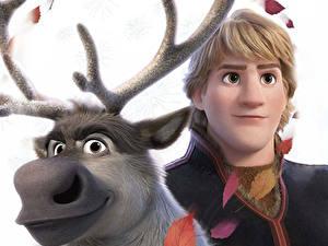 Hintergrundbilder Die Eiskönigin – Völlig unverfroren Hirsche Großansicht Disney Kerl Kristoff, Sven Animationsfilm