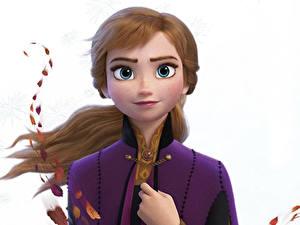Fotos Die Eiskönigin – Völlig unverfroren Disney Weißer hintergrund Anna Animationsfilm 3D-Grafik Mädchens
