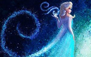 壁纸、、アナと雪の女王、魔術、ドレス、Queen Elsa Frozen、カートゥーン、ファンタジー、少女