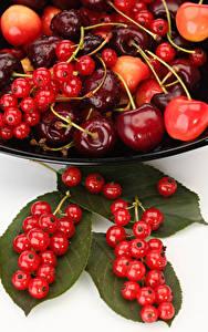 Bilder Obst Johannisbeeren Kirsche Blattwerk