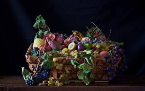 Bilder Obst Weintraube Beere Weidenkorb Ast Lebensmittel