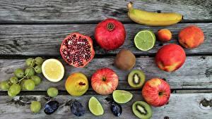 Bilder Obst Granatapfel Äpfel Weintraube Zitrone Bananen das Essen