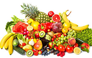Images Fruit Vegetables Grapes Pineapples Pears Bananas Tomatoes Garlic Raspberry Strawberry Pepper White background Food