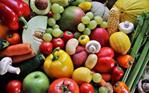 Hintergrundbilder Obst Gemüse Weintraube Tomaten Paprika Mohrrübe Zitronen Pilze Kartoffel Lebensmittel