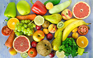Wallpapers Fruit Vegetables Pepper Apples Pears Bananas Grapes