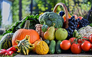 Wallpaper Fruit Vegetables Tomatoes Cucumbers Pumpkin Grapes Apples Pears