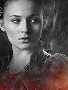 Bilder Game of Thrones Großansicht Gesicht Sansa Stark, Sophie Turner Film Prominente Mädchens