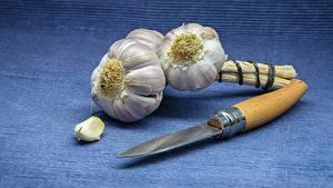 Fotos Knoblauch Messer Lebensmittel