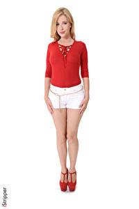 Fotos Genevieve Gandi iStripper Blond Mädchen Weißer hintergrund Hand Shorts Bein High Heels junge frau