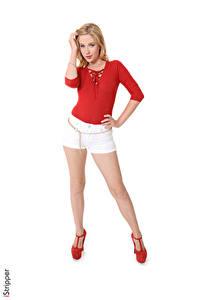 Hintergrundbilder Genevieve Gandi iStripper Weißer hintergrund Blondine Hand Shorts Bein High Heels Mädchens