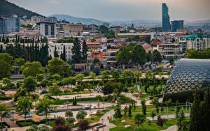 Image Georgia Mountains Houses Park Trees Tbilisi Cities