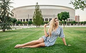 Hintergrundbilder Georgiy Dyakov Sitzen Sitzend Kleid Bein Gras Hand Junge frau