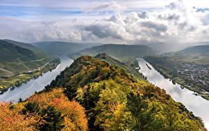 Bilder Deutschland Herbst Flusse Hügel Wolke Von oben river Moselle Natur