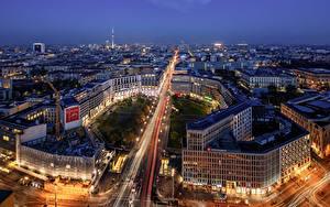 Fotos Deutschland Berlin Gebäude Nacht Straße Von oben Städte