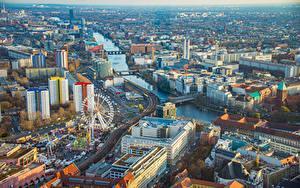 Fotos Deutschland Berlin Haus Flusse Riesenrad Von oben Städte
