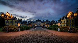 Desktop hintergrundbilder Deutschland Burg Nacht Straßenlaterne Arolsen Castle, Bad Arolsen Städte