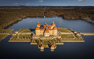 Bilder Deutschland Burg See Insel Von oben Moritzburg Castle Städte