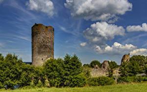 Fotos Deutschland Burg Ruinen Himmel Bäume Wolke Burg Balduinstein Ruine Städte