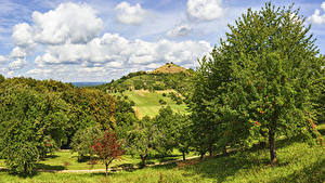 Bilder Deutschland Felder Himmel Hügel Bäume Wolke Hepsisau