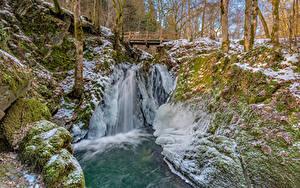 Hintergrundbilder Deutschland Wälder Fluss Brücken Bäume Eis Cochem