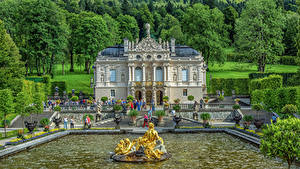 Pictures Germany Fountains Sculptures Bavaria Palace Stairway Trees HDRI Linderhof Cities