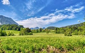 Desktop hintergrundbilder Deutschland Grünland Wald Himmel Bayern Gras Aschau im Chiemgau, Rosenheim Natur