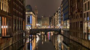 Hintergrundbilder Deutschland Hamburg Haus Brücke Nacht