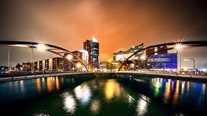 Hintergrundbilder Deutschland Hamburg Gebäude Flusse Brücke Nacht Städte