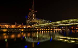 Bilder Deutschland Haus Brücke Fluss Nacht Bremerhaven Städte