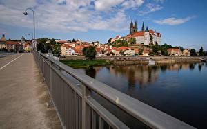 Hintergrundbilder Deutschland Haus Brücke Flusse Straßenlaterne Meissen Saxony