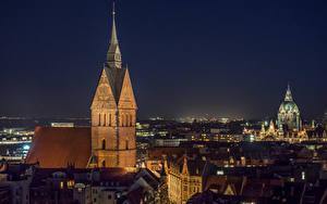 Desktop hintergrundbilder Deutschland Haus Kirche Nacht Hannover, Marktkirche Städte