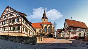 Hintergrundbilder Deutschland Gebäude Kirche Tempel Stadtstraße Straßenlaterne Baden-Wuerttemberg