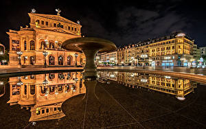 Hintergrundbilder Deutschland Haus Frankfurt am Main Nacht Platz Reflexion Old Opera Städte