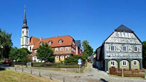 Bilder Deutschland Gebäude Straße Zaun Straßenlaterne Kirchen Städte
