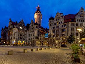 Bilder Deutschland Gebäude Platz Turm Leipzig, New Town Hall Städte
