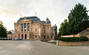 Fotos Deutschland Gebäude Denkmal Straßenlaterne Mecklenburg State Theatre
