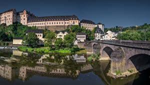 Hintergrundbilder Deutschland Haus Flusse Brücke Burg Weilburg, Hessen Städte
